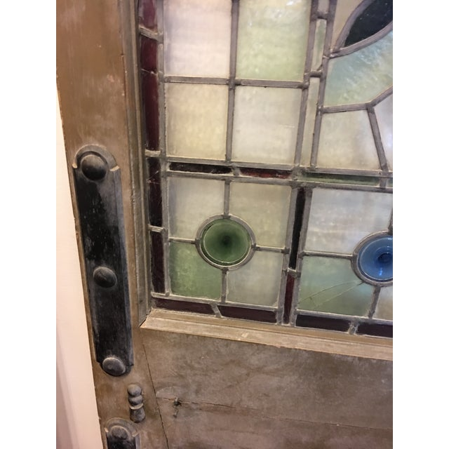 Wood Beautiful 1920's English Stained Glass Door For Sale - Image 7 of 11