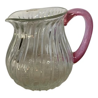 Vintage Ribbed Blown Glass Round Pitcher With Pink Glass Handle For Sale