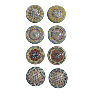 1990s Mackenzie Child Hand-Painted Cabinetry Knobs - Set of 8 For Sale