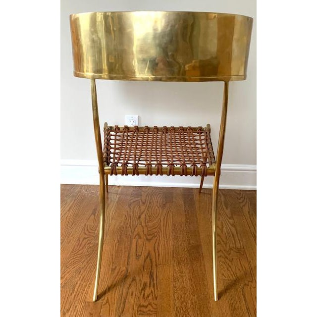 Scala Luxury Brass Leather Klismos Chair For Sale - Image 9 of 12