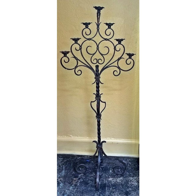 18c Spanish Cast Iron Floor Candelabra - Image 7 of 10