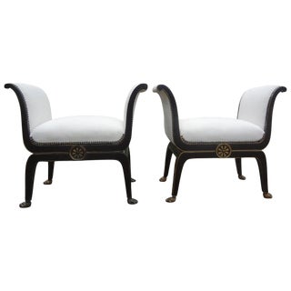 1940's Vintage Italian Neoclassical Ebonized and Gilt Wood Benches-A Pair For Sale