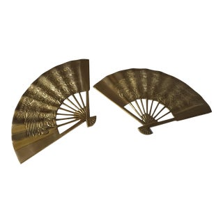Vintage Brass Chinoiserie Wall Hanging Fan Art - Set of 2 For Sale