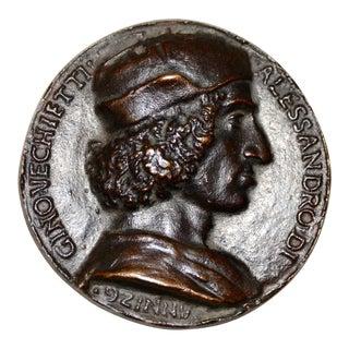 Rare 15th Century Bronze Relief Medallion of Allesandro DI Gino Vecchietti C.1498 For Sale