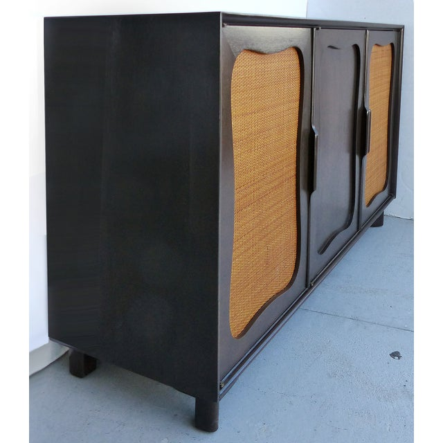 Lacquered 50's Credenza With Woven Cane Doors - Image 3 of 10