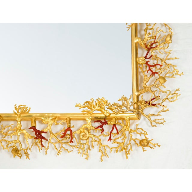 Bronze and Real Coral Mirror , by Robert Goossens, Circa 1970 For Sale - Image 6 of 7