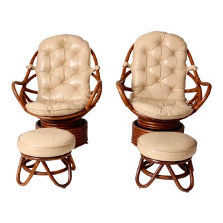 Mid-Century Rattan Swivel Chair and Ottoman - Set of 4