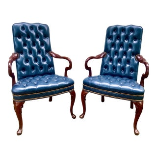 Hancock & Moore Tufted Leather Club Chairs - a Pair For Sale