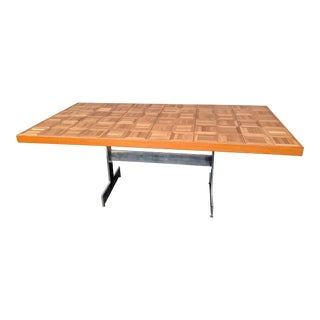 Mid-Century Modern Parquet Top Dining Table For Sale
