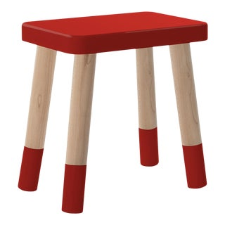 Tippy Toe Kids Chair in Maple and Red Finish For Sale
