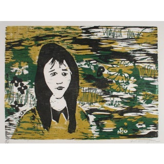 Portrait of a Woman With Flowers 1960-70s Gold and Green Woodcut For Sale