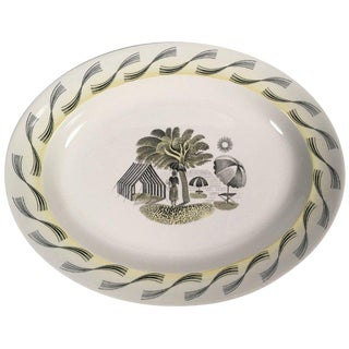 Eric Ravilious Wedgwood Garden Series Oval Platter with Woman and Umbrellas