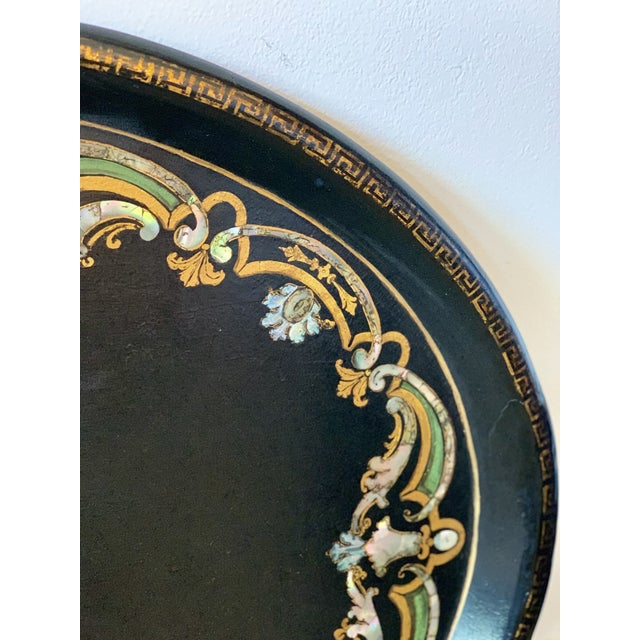 Late 19th Century 19th Century Black Paper Mache VictorianTray With Mother of Pearl Inlay For Sale - Image 5 of 7