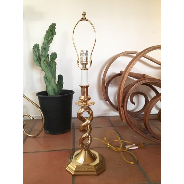 Twisted Brass Table Lamp - Image 2 of 6