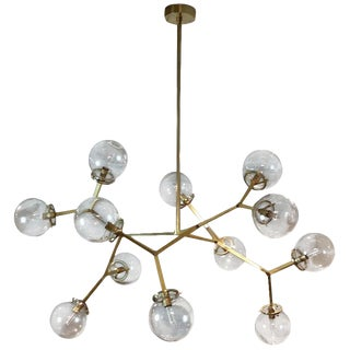 "Mid-Century Modern Blueprint Lighting Brass & Glass ""Macro Molecular"" Chandelier For Sale"