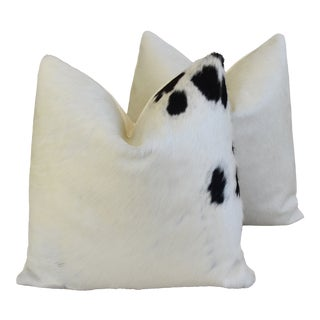 """Brazilian Cowhide & Cotton Feather/Down Pillows 21"""" Square - - a Pair For Sale"""