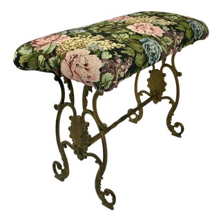 Floral Upholstered Cast Iron Bench