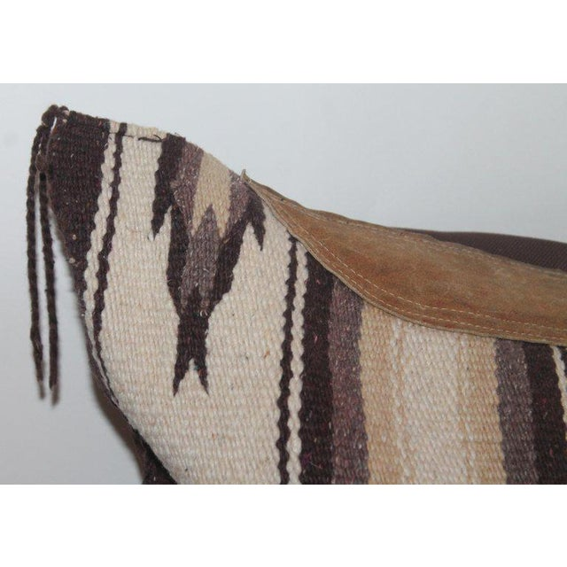 Early 20th Century Navajo Indian Weaving Saddle Blanket Pillow With Leather Trim For Sale - Image 5 of 9