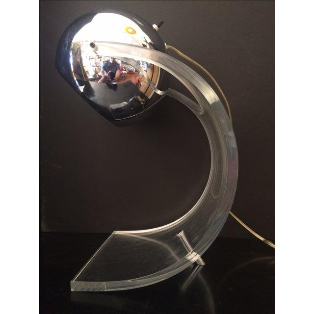 Chrome Eyeball & Lucite Lamp by Robert Sonneman For Sale - Image 7 of 7