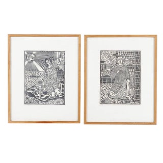 1970s Vintage Giorgos Loannou Framed Linocuts - A Pair For Sale