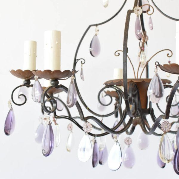 French Vintage Iron/Crystal Chandelier For Sale - Image 3 of 4
