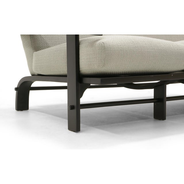 Lacquer Three-Seat Sofa by Russell Wright, Black Frame and Light Grey-Silver Fabric For Sale - Image 7 of 9