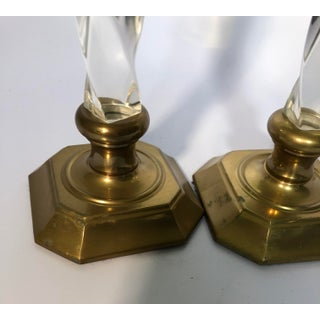 Vintage Tall Brass and Twisted Lucite Candlestick Holders - a Pair Preview