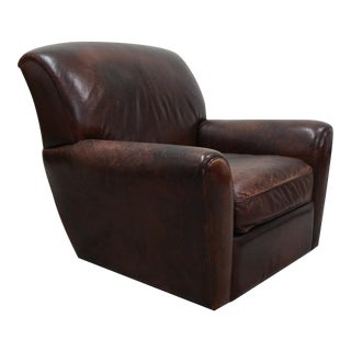 Antique French Style Aged Leather Lounge Chair For Sale