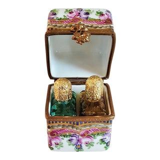 Vintage Limoges Double Bottle Perfume Box For Sale