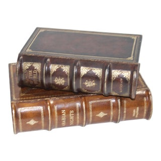 Storage Boxes Disguised as Antique Leather Books - a Pair For Sale