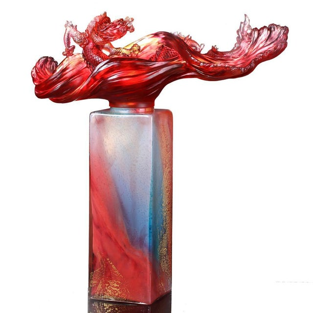 Glass Liuli Crystal Art Crystal Dragon Treasure Vase With Hand-Applied Gold Leaf (Limited Edition) For Sale - Image 7 of 7