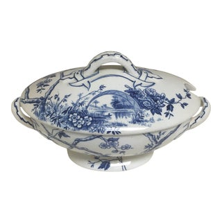 Antique Blue and White Transferware Sauce Tureen