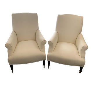 Contemporary Williams Sonoma Home Upholstered Bedford Chairs - a Pair For Sale