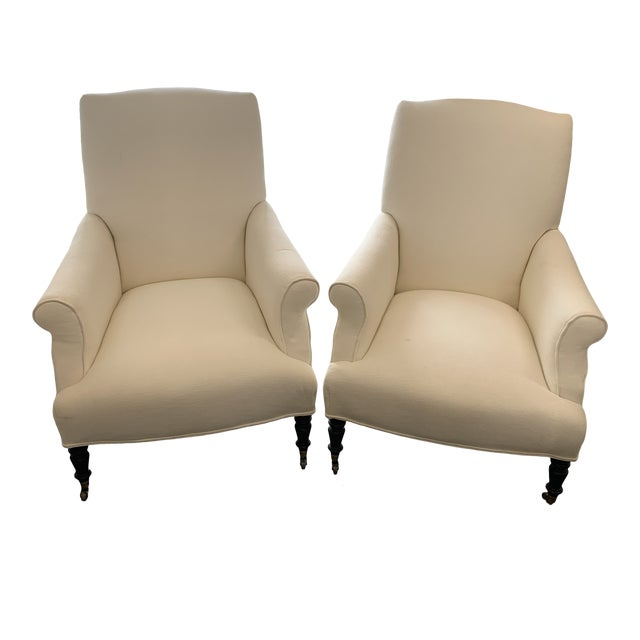 Contemporary Williams Sonoma Home Upholstered Occasional Chairs - a Pair For Sale