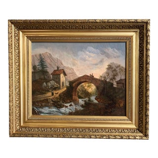 19th Century French Oil on Canvas Landscape Painting in Carved Gilt Frame For Sale
