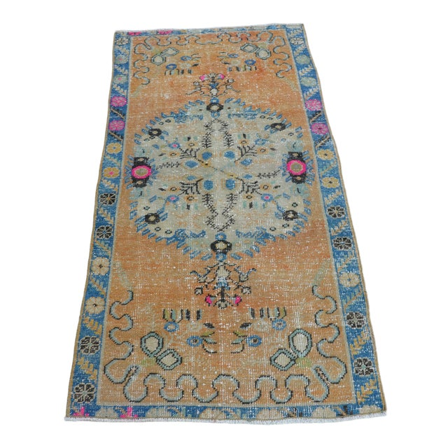 Turkish Oushak Vintage Tribal Wool Carpet - 2′8″ × 5′6″ For Sale