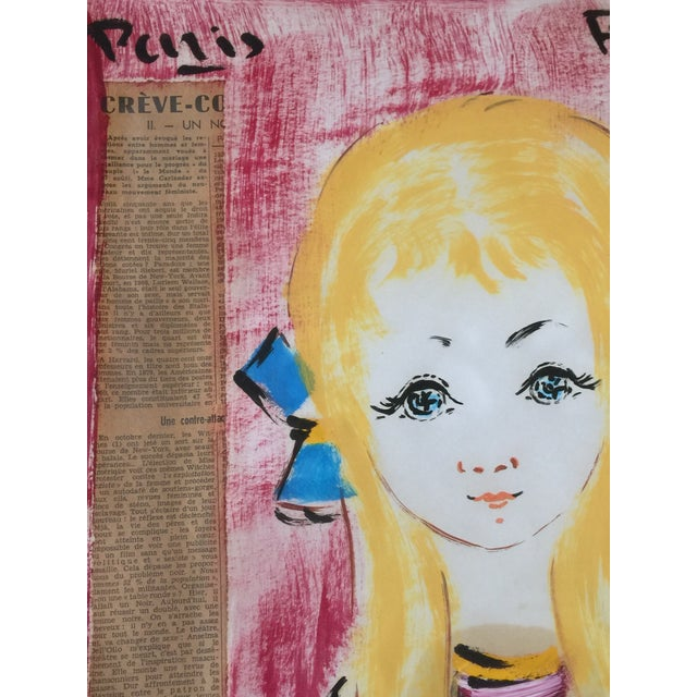 1960s Vintage Francois Paris Girl and Boy Portraits Mixed Media Paintings - A Pair For Sale - Image 10 of 13