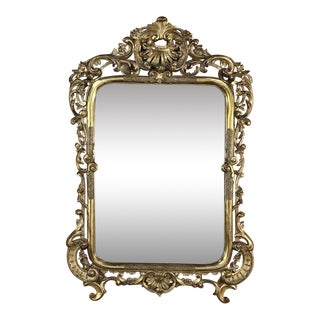 Mid-19th Century Italian Baroque Giltwood Mirror For Sale