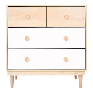 Lukka Modern Kids 4-Drawer Dresser in Maple With White Finish For Sale