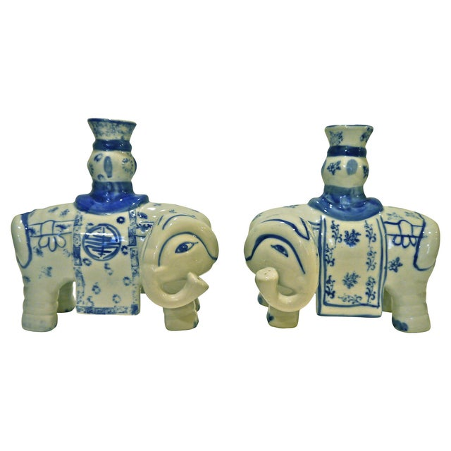 Blue & White Elephant Candleholders - A Pair - Image 1 of 6