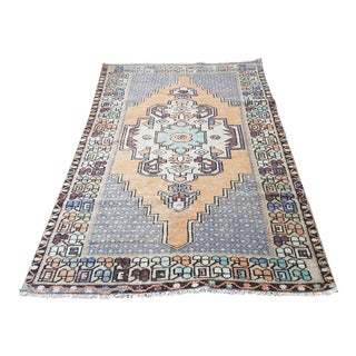 Vintage Turkish Hand-Knotted Anatolian Rug- 3′8″ × 7′4″ For Sale
