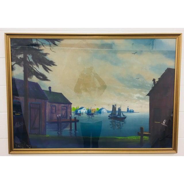 Original Framed Coastal Seascape Painting For Sale - Image 11 of 11