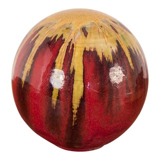 Spherical Gold and Red Drip Glaze Art Pottery For Sale