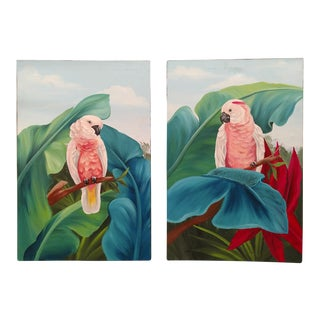 Late 20th Century Vintage Self Framed on Canvas Paintings of Parrots & Palm Leaves - a Pair