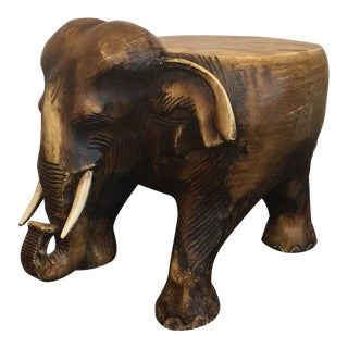 Vintage Wood Elephant Stand For Sale