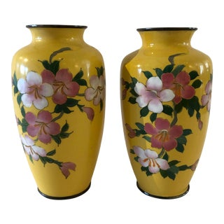 Pair of Cloisonne Vases For Sale