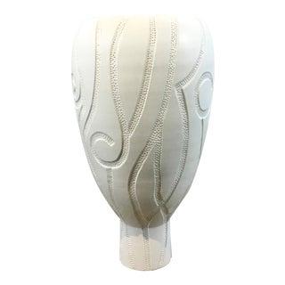 Global Views Modern Large Matte White Cut Ceramic Lucca Vase For Sale