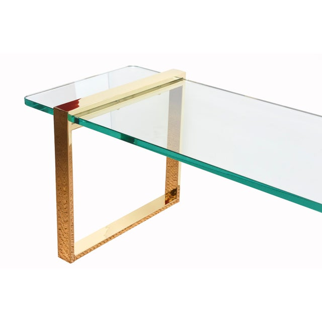 1980s 1980s Pace 24 Karat Gold Plated and Glass Rectangle Cocktail Table For Sale - Image 5 of 9