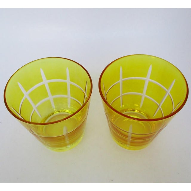 Etched Double Old Fashioned Glasses - A Pair For Sale - Image 4 of 5