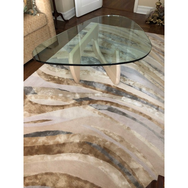 Abstract Silk & Wool Stark Rug For Sale - Image 3 of 10